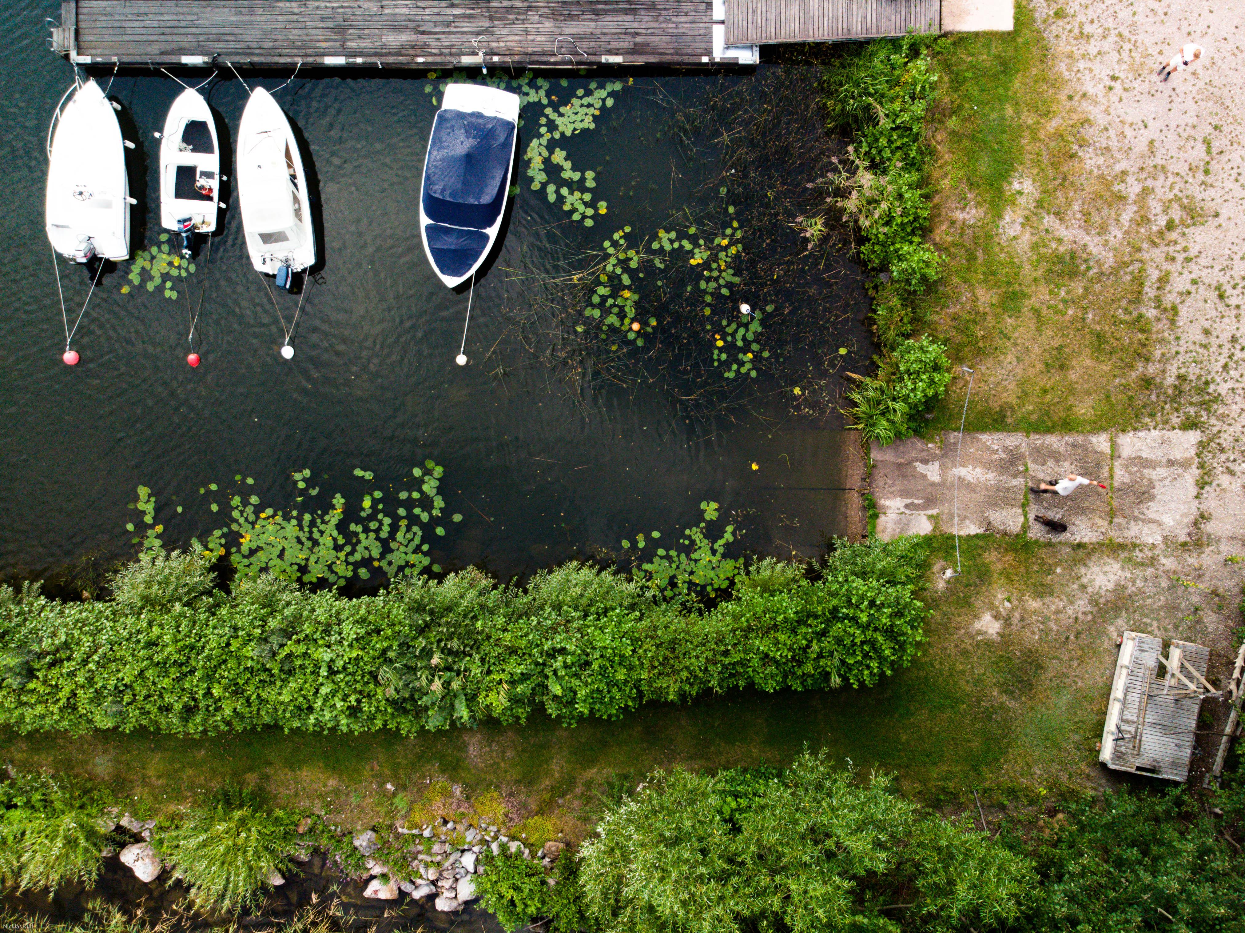 Flygbild över Stallarholmens hamn